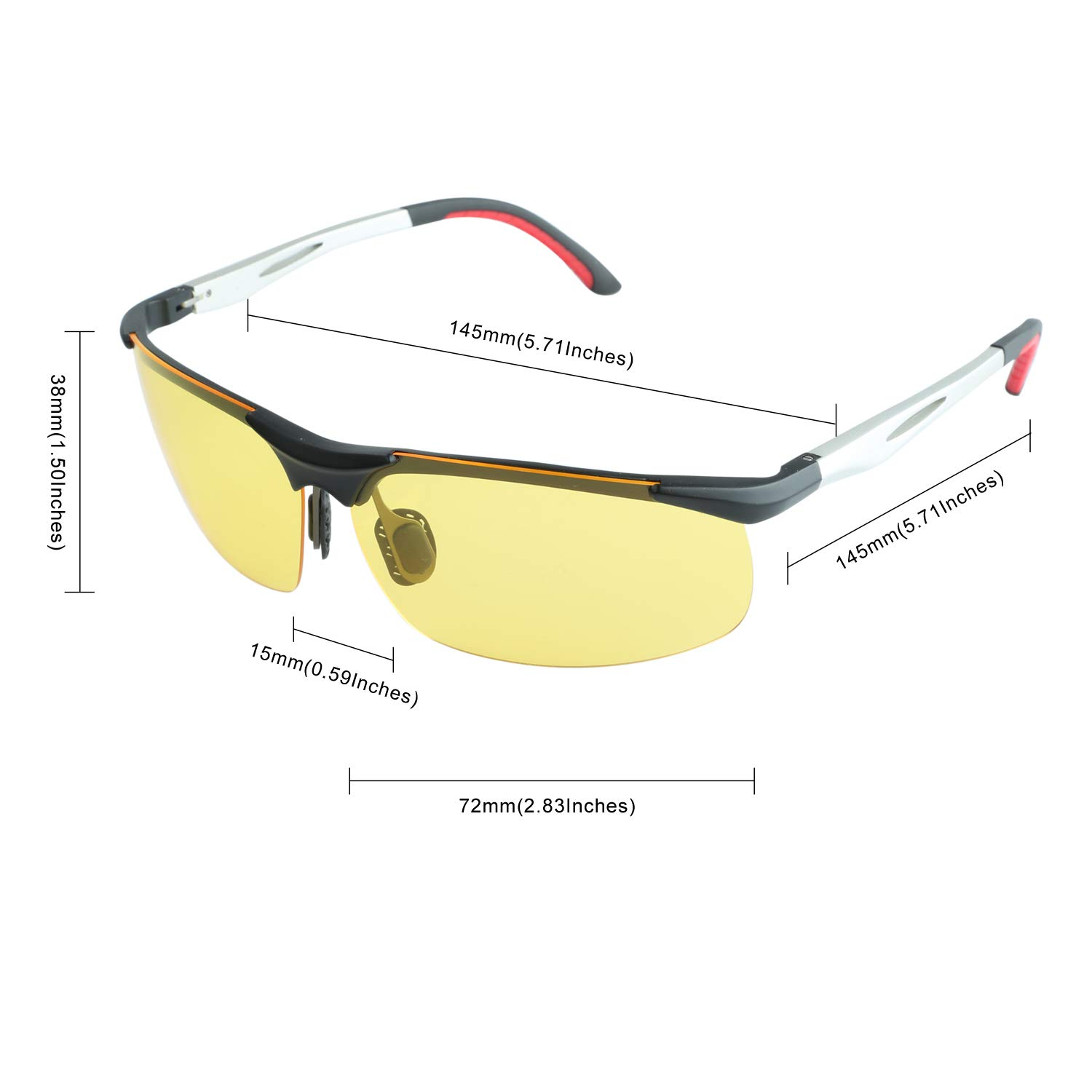 49d3fd9b640d DUCO Night Driving Glasses with Polarized Yellow Lens for Cutting Headlight Glare  2181 Yellow Sports   Fitness 2181YELLOW