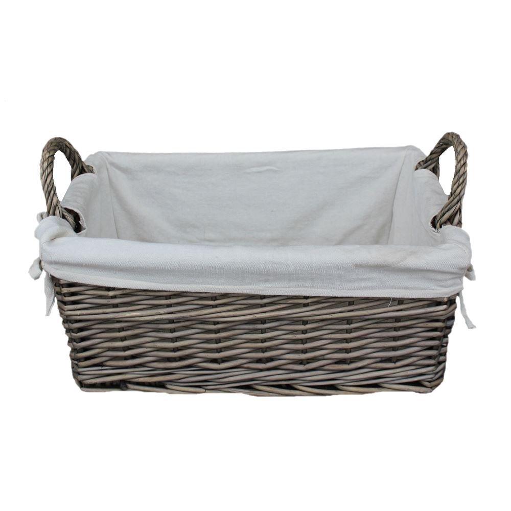 Medium Shallow Antique Wash Lined Storage Wicker Basket