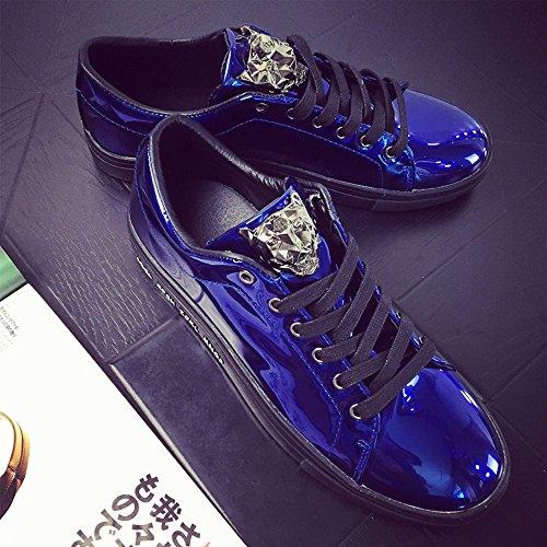 Leopardo Cuero Plano De Skate Plata Deportivas Hombre Casual 44 Zapatos 39 Zapatillas Moda Sneakers Dorado Patent Azul Negro Pwqnq85p