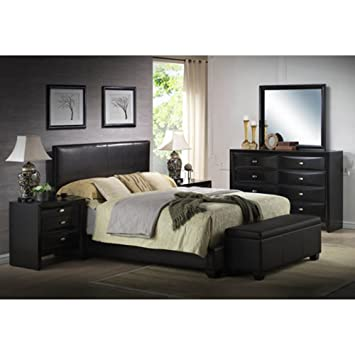 black king size bed faux leather with headboard footboard frame rails