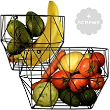 Wire Basket Wall Mount - Farmhouse Fruit Basket Set (of 2) for Using as Fruit or Produce Basket, Wall Planter, Wall Organizing Unit or Wire Baskets for Pantry (By Scandinavian Hub)
