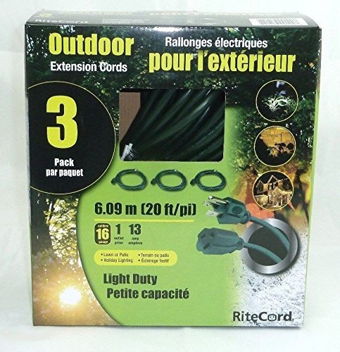RiteCord 3-Pack Outdoor 20 ft Extension Cords Set
