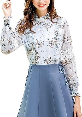 Mujer Camisas Moda Ocasional Chiffon Florales Blusas Elegantes Camisa Vintage Manga Larga Stand Cuello con Encaje Camicia Bluse Tops Otoño: Amazon.es: Ropa y accesorios