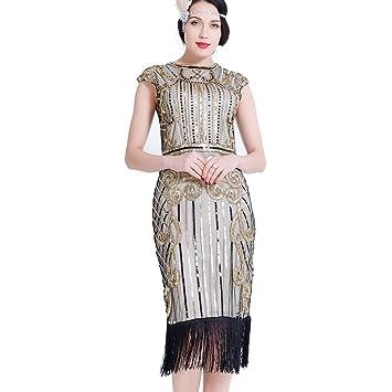 1920er Frauen Flapper Kleider Pailletten Perlen Art Deco Gatsby Party  Vintage Fransen Fancy Dress Cocktail Kostüm 5765356dad