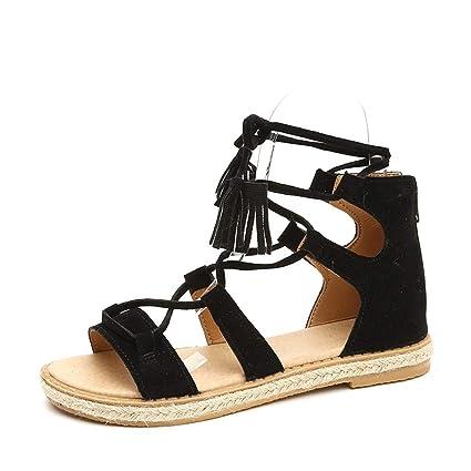 c89c565e1 Image Unavailable. Image not available for. Color: Women Roman Sandals  Flock Flat Espadrilles Sandals Open Toe Lace up Gladiator ...