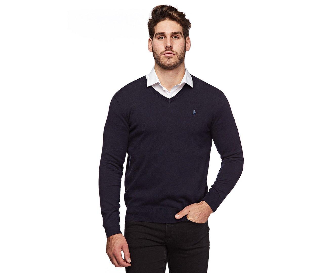 Polo Ralph Lauren Mens Pima Cotton V-Neck Sweater (Navybluepny , M)