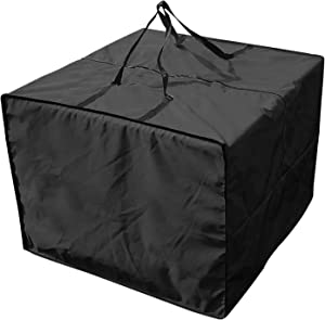 Outdoor Patio Furniture Seat Cushions Storage Bag with Zipper and Handles, 32''L X 32''W X 24''H Waterproof Rectangular Cushion Cover Storage Bag Patio Furniture Cover (Black)