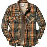 Legendary Whitetails Men's Fleece Lined Button Down Java Shirt Jac (Daybreak Orange Plaid, Small)