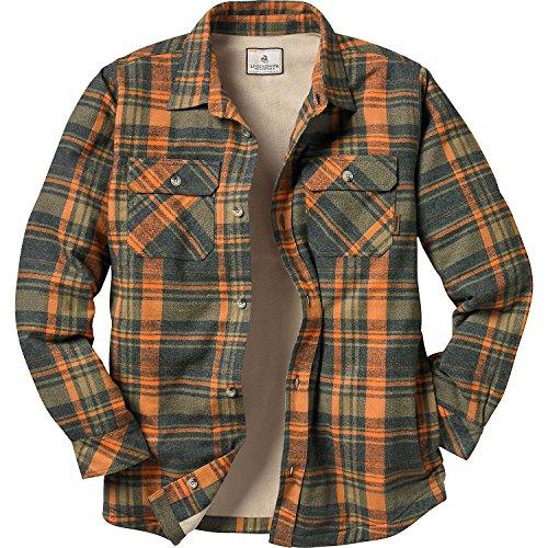 (Legendary Whitetails Men's Fleece Lined Button Down Java Shirt Jac (Daybreak Orange Plaid, Medium))