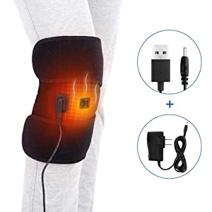 Knee Heating Pad, Heating Knee Brace Wrap for Hot and Cold Therapy to Warm Joint and Relief Pain of Knee Stiff, Arthritis and Strains, 3 Temperature Control, Fits Men and Women Knee Calf Leg Arm Area