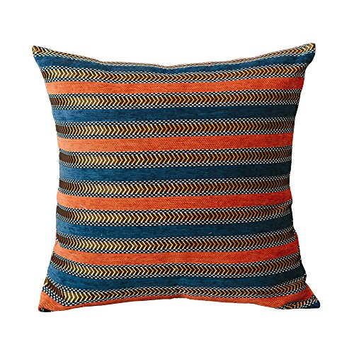 Denim Toss Pillow - MochoHome Chenille Stripe Square Throw Pillow, Decorative Toss Pillow - 20