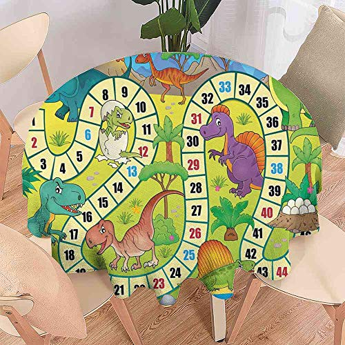 LsWOW Tablecloth Board Game,Cute Dinosaurs Jungle Numeral Wavy Line Prehistoric Fauna Wildlife Composition,Multicolor Tablecloth Square Kitchen Size:D55