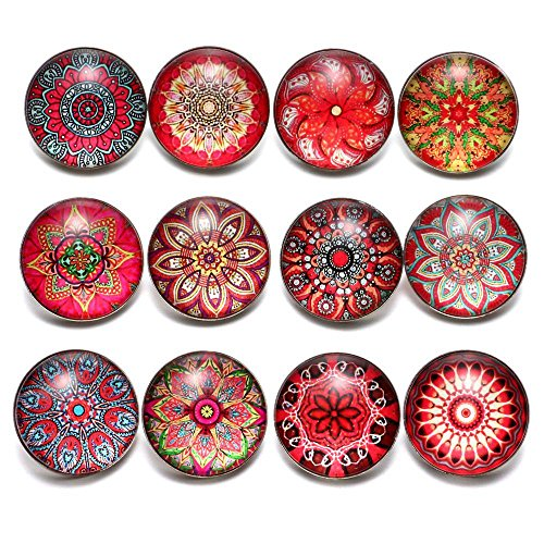 12pcs/lot Multi Color Themes New Exotic Pattern Glass Charms 18mm Ginger Snap Button For 20mm Snap Bracelet Snap Jewelry (Red)