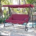 Outdoor Canopy Swing/Bed Patio Deck Garden Porch Seat Furniture Chair Burgundy Bonus free ebook By Allgoodsdelight365