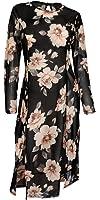 eVogues Plus Size Sheer Floral Print Mesh Evening Party Maxi Dress
