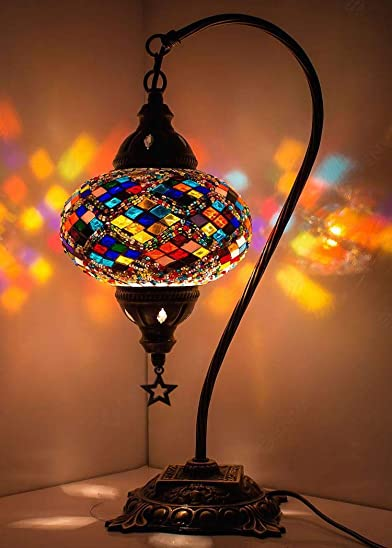 Stunning Handmade Turkish Moroccan Mosaic Glass Colorful Boho Table Desk Bedside Lamp Light Lampshade Multicolor