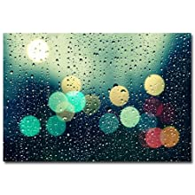 Trademark Fine Art Rainy City by Beata Czyzowska Young Canvas Wall Art, 30x47-Inch