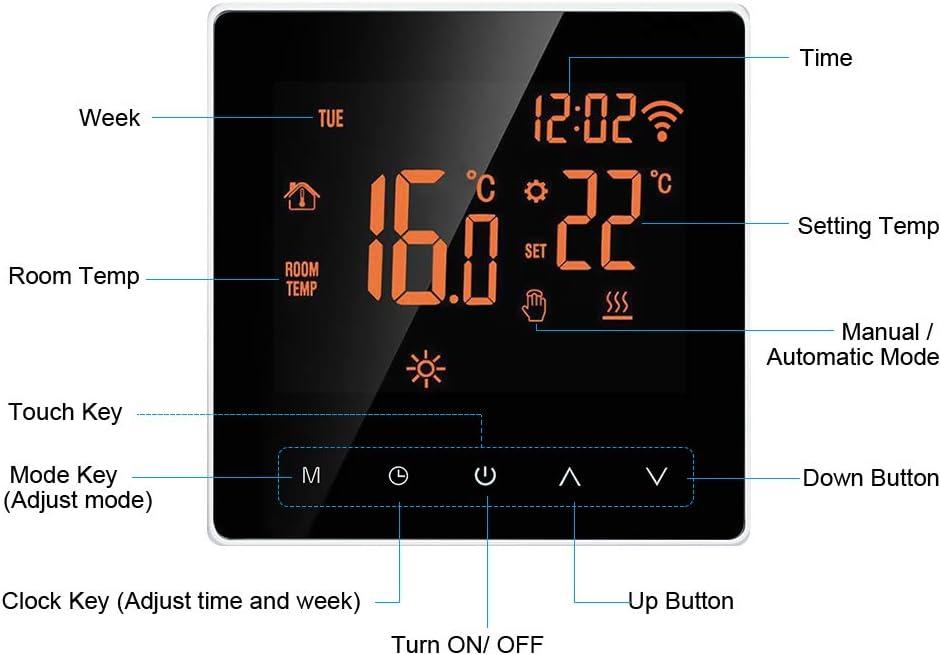 Kindersicherung Speicherfunktion,16A,No Wi-Fi Smart Thermostat Digital Raumthermostat programmierbar LCD Display Touchscreen APP Control Elektrische Wandthermostat mit Interner Sensor//Bodensensor