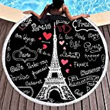 Sleepwish Eiffel Tower Beach Towel Beach Towels with Letters Round Bathroom Mat Tablecloths Black and White (French, 60'')