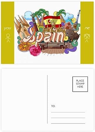 DIYthinker Prado Mariscos España Graffiti amigo tarjetas postales establecido tarjeta Gracias lateral de correo 20Pcs 5,7 pulgadas x 3,8 pulgadas Multicolor: Amazon.es: Oficina y papelería