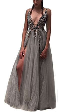 KaBuNi Womens Sexy Deep Double V Neck Bling Prom Dress Slit Evening Gowns Gray2