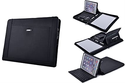 sports shoes bf3da 4241b iPad Keyboard Portfolio, Executive Leather Padfolio Case with Bluetooth  Keyboard for iPad Air /Air 2,Black