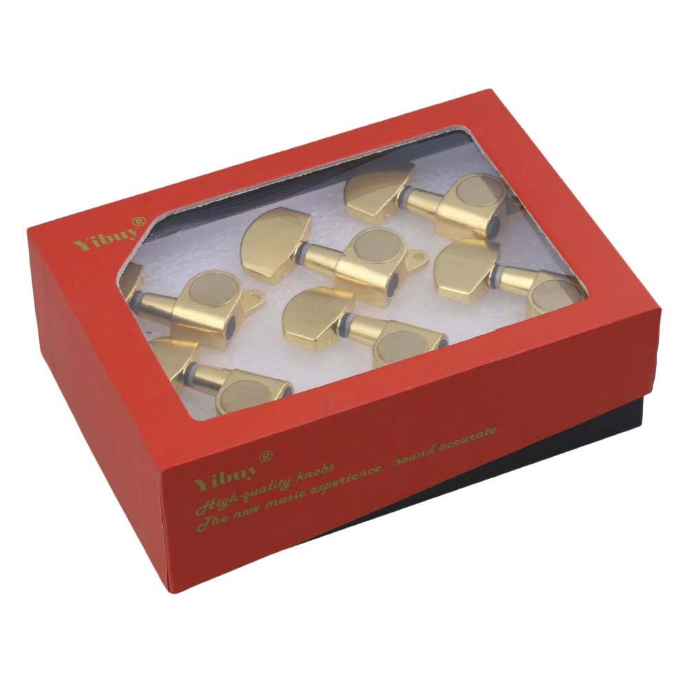 Yibuy Gold Electric Acoustic Guitar Machine Heads Tuning Tuners 3R3L Pack of 6 etfshop Yibuy216