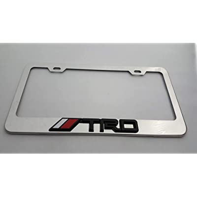 Usudu for TRD Logo Emblem Stainless Steel License Plate Frame Rust Free W/Bolt Caps for Tacoma 4Runner Tundra (Chrome+Black Logo): Automotive