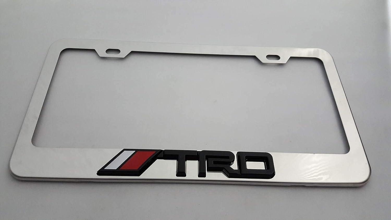 Chrome +Chrome Logo Usudu for TRD Logo Emblem Stainless Steel License Plate Frame Rust Free W//Bolt Caps for Tacoma 4Runner Tundra