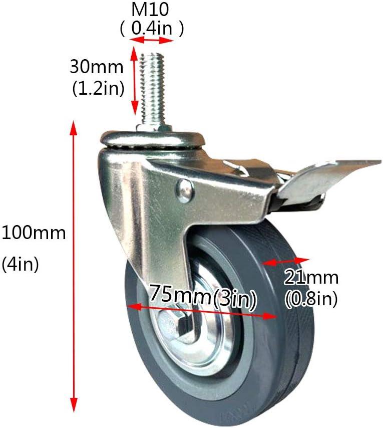 Zlovne 4X Ruote Girevoli 75MM//100MM,Rotelle per Mobili,Asta di Montaggio Filettata M10,Rotelle di Ricambio per Attrezzature Industriali e Mobili Pesanti