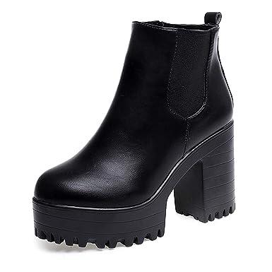 POLP Botas Tacon Zapato Mujer Tacon Ancho Zapatos señora Invierno Botas de Vestir Botines Mujer Tacon Botines Mujer Tacon Botas de Invierno para Mujer Botas ...