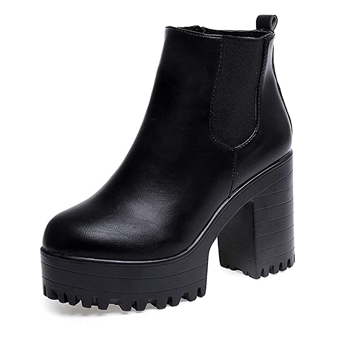 POLP Botas Tacon Zapato Mujer Tacon Ancho Zapatos señora Invierno Botas de Vestir Botines Mujer Tacon