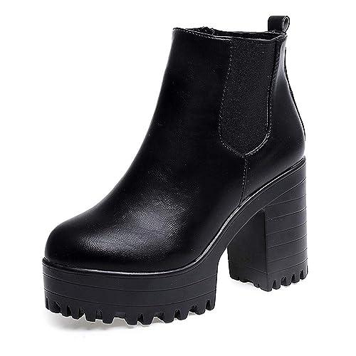 POLP Botas Tacon Mujer Invierno Botines de Plataforma Zapato de Tacon Ancho Botas de Vestir Botines Mujer Tacon Botas de Invierno para Mujer Botas de
