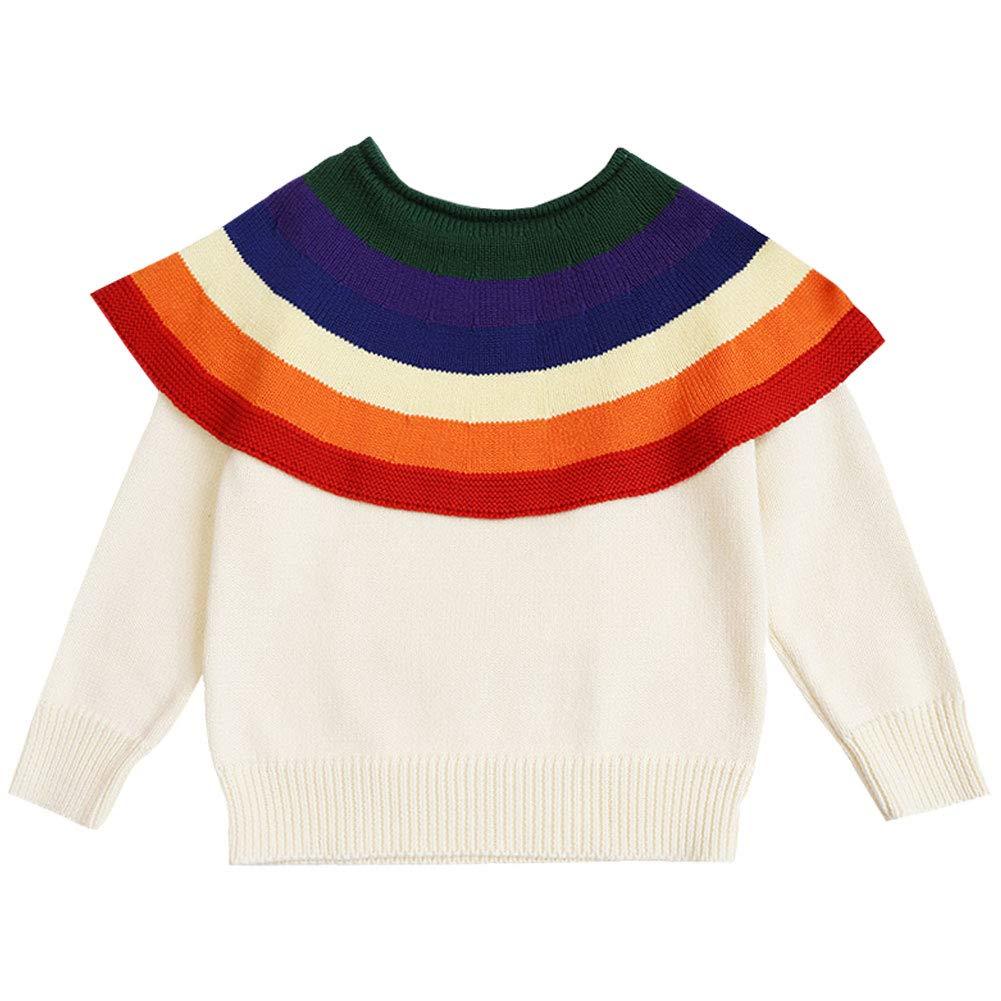 LSERVER Unisex Children Baby Kids Long Sleeve Autumn Winter Warm Rainbow Sweater Jumper Top Casual Knit Sweatshirt Outerwear