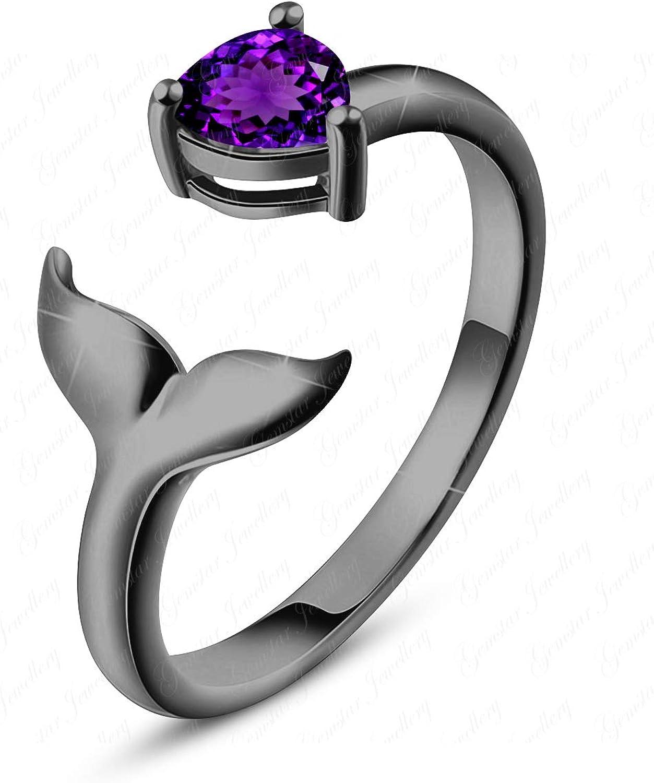 Gemstar Jewellery Elegant Mermaid Toe Ring in 14k Black Gold Finish 925 Silver Pear Purple Amethyst