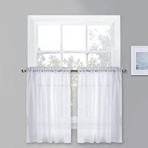 """PONY DANCE White Sheer Voile - Kitchen Curtains Linen Look Semi-Transparent Tiers Casual Rod Pocket Short Valances Drapes for Small Window Kitchen & Cafe, 52"""" Wide x 36"""" Long, Set of 2"""