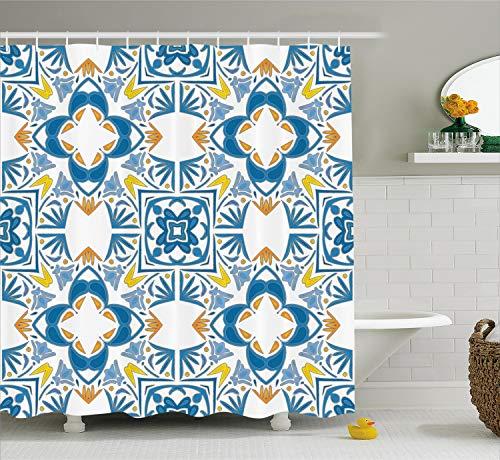 Ambesonne Ethnic Shower Curtain, Tunisian Mosaic with Azulojo Spanish Influence Retro Inspired Artwork, Cloth Fabric Bathroom Decor Set with Hooks, 70