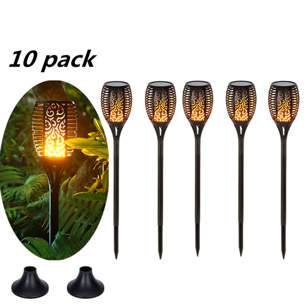 Eleoption Solar Powered LED Path Light Waterproof for Garden Tiki Torches Patio Outdoor Garden Torches Gift with Bases Support for Garden Walkway Yard Landscape Pool Tabletop Decoration,10 Packs