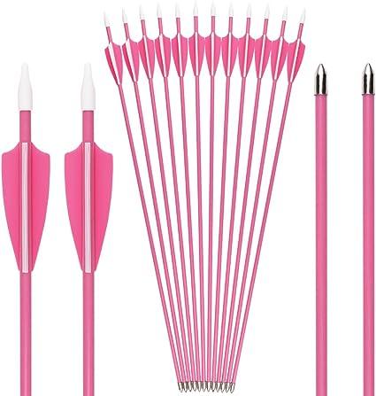 "12//24Pcs Pink Fiberglass Arrows 28/"" Girl Woman Archery Hunting for Recurve Bow"