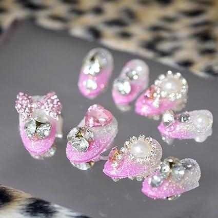 EchiQ 3D mariposa gemas rosa francés falsas uñas postizas cristal transparente perla brillante azúcar purpurina uñas