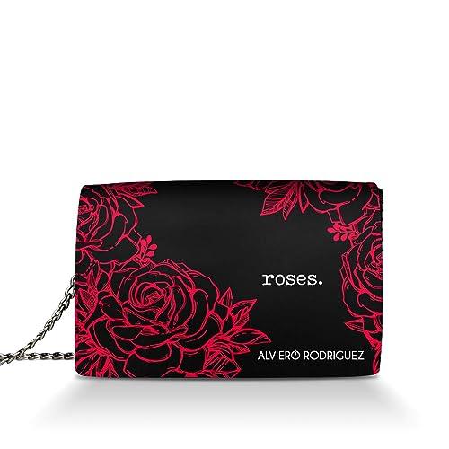 05e525af0c Alviero Rodriguez Borsa Donna Roses Rose Rosse Red in Vera Pelle (Catena  Argento): Amazon.it: Scarpe e borse