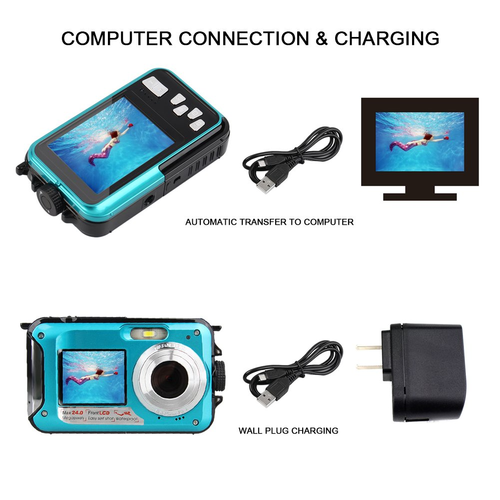 YISENCE Waterproof Digital Camera 24MP Underwater Camcorder Video Recorder FULL HD 1080P Selfie Dual Screen DV Recording … (C8) by YISENCE (Image #6)