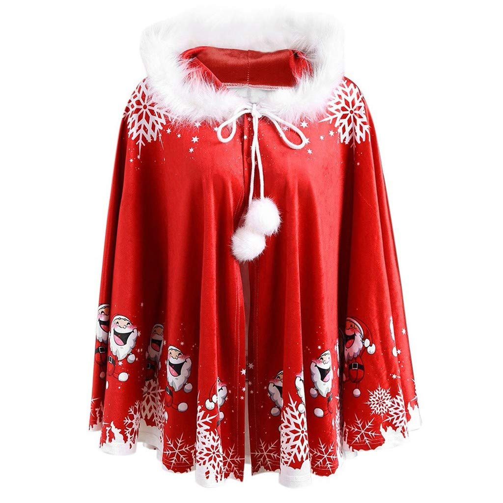 Matching Family Cape Coat-Mens Merry Christmas Santa Hooded Cloak Faux Fleece Hoodies Warm Cape Jacket by CCOOfhhc
