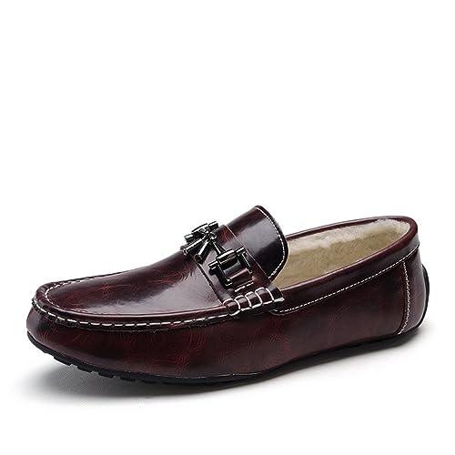 Enllerviid Hombres Plano Tacón Ponerse Comodidad Con Terciopelo Borgoña Cuero Mocasines Zapatos 1373 EU42.5: Amazon.es: Zapatos y complementos