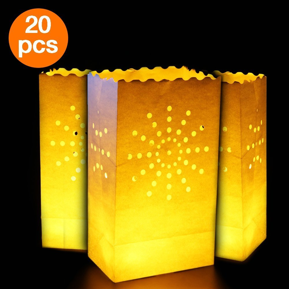 Aookey Candle Luminary Bags, 20 Pcs Tealight Candle Bags, Durable and Reusable Fire-Retardant Cotton, Perfect for Home Outdoor, Christmas, Wedding, Reception, Holiday, Party and Event Occasion Decoration (Sun Design) Cookey
