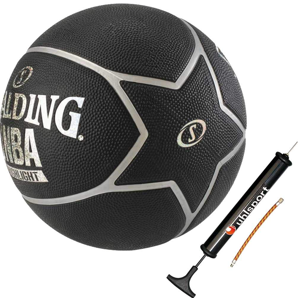 Spalding Basketball Highlight schwarz Outdoor Street mit NBA Logo Grö ß e 7 + Ballpumpe