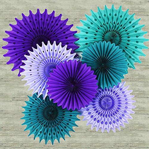 Mermaid Birthday Party Supplies/Under the Sea Party Supplies Teal Purple Lavender Tissue Paper Fan/ Tissue Pom Pom Flower /Mermaid/Frozen Party Supplies Mermaid Decorations Baby Shower Decorations