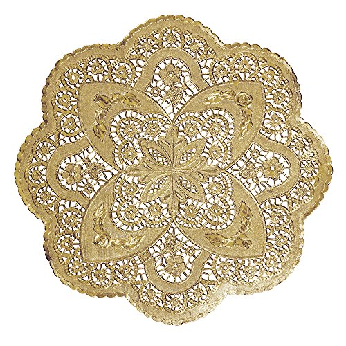 Hoffmaster GO912SP Foil Lace Doily, Round, 12'' Diameter, Gold (Pack of 500) by Hoffmaster