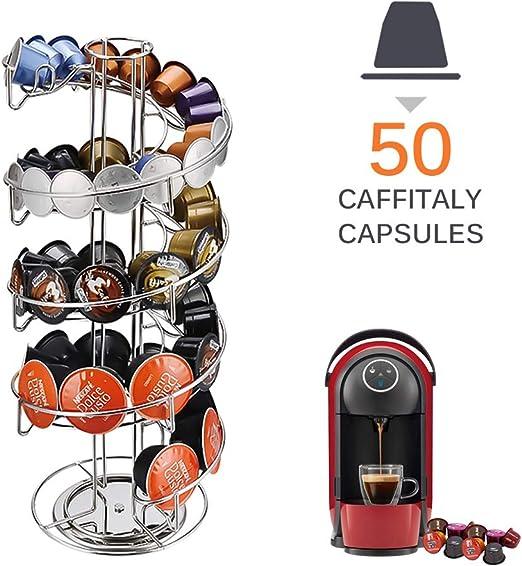 Porta Cápsulas de Café, SUNJULY Espiral Giratoria 50 Cápsulas ...