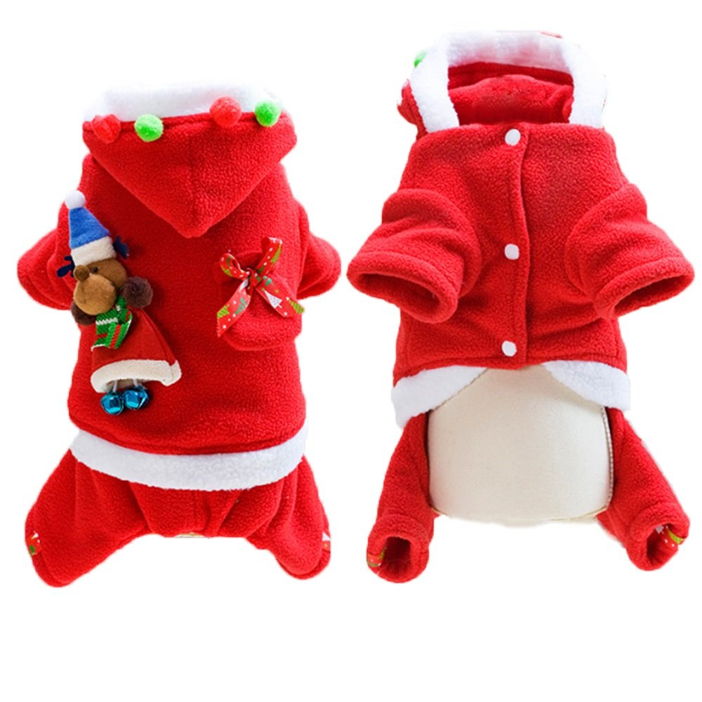 Girl M Girl M Queenmore Pet Christmas Costumes, Dog Santa Suit Clothes Winter Hoodie Coat Puppy Pet Outwear